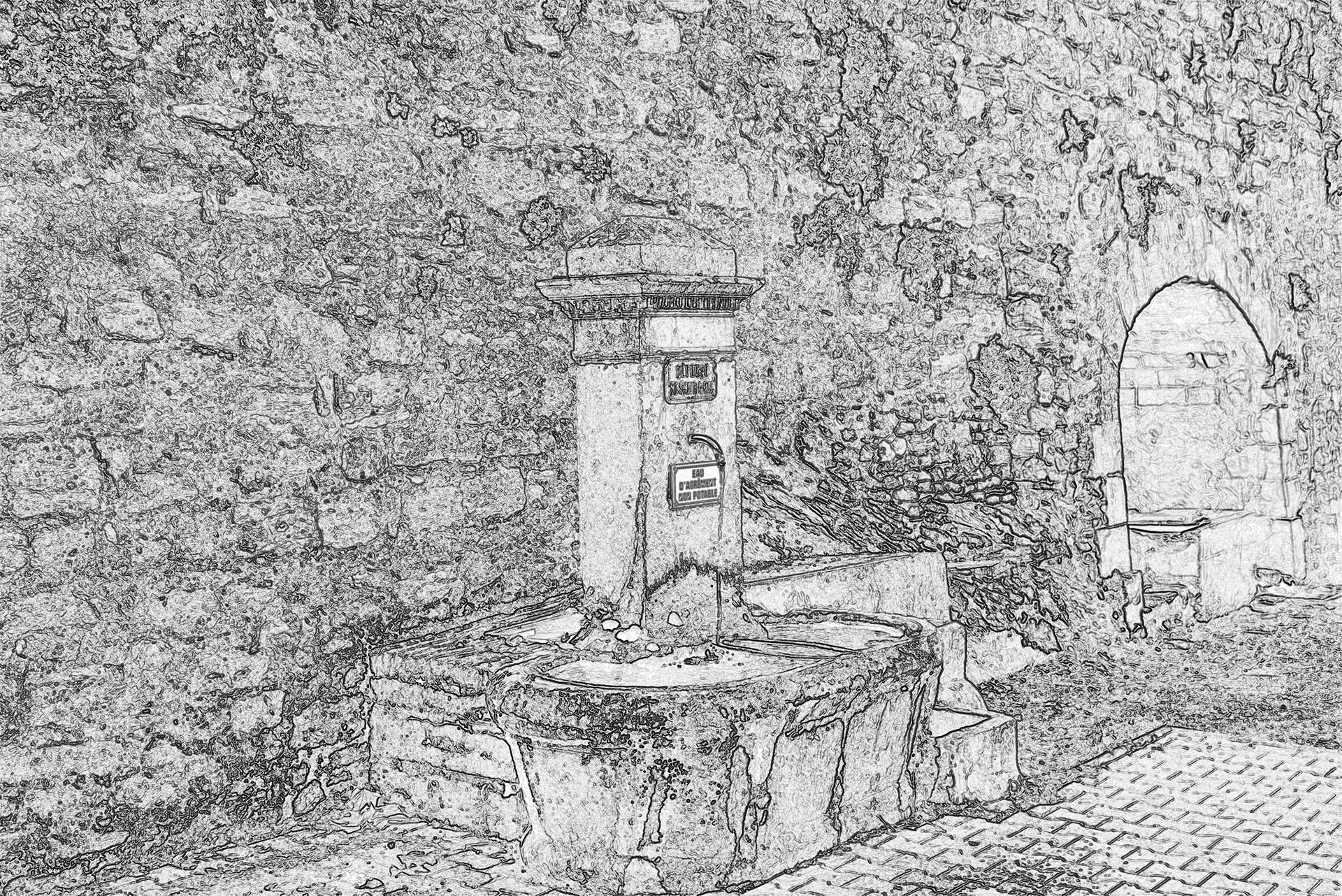Fontaine et lavoir rempart de l'Auro à Cucuron